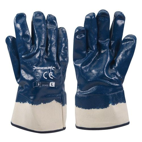 Silverline 282405 Jersey Lined Nitrile Safety Work Gloves Large